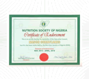 Certificate of Endorsement 2015 – Nutrition Society of Nigeria (NSN)